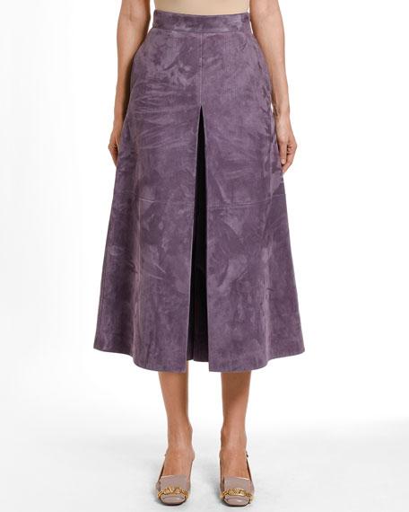 Suede Pleated Midi Skirt