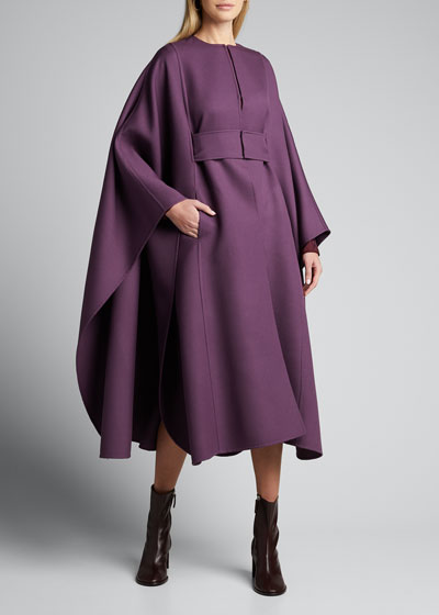 Double-Wool Long Belted Cape Coat