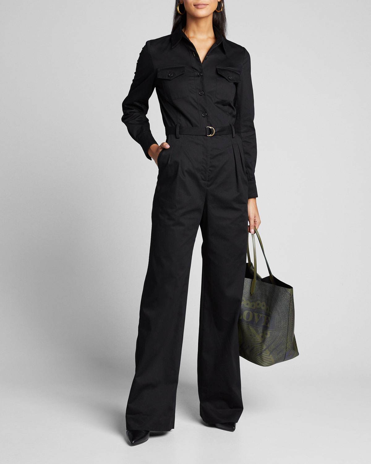 Nili Lotan Suits JOSIE BELTED COTTON JUMPSUIT