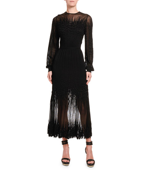 Squiggle-Seam Embroidered Lace Dress