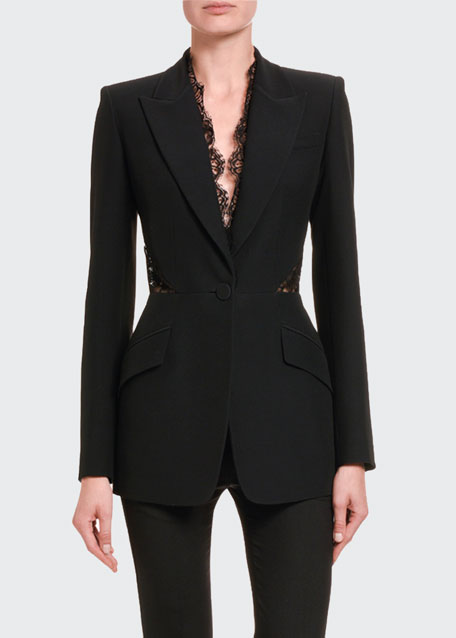 Leaf-Crepe Lace-Trim Blazer