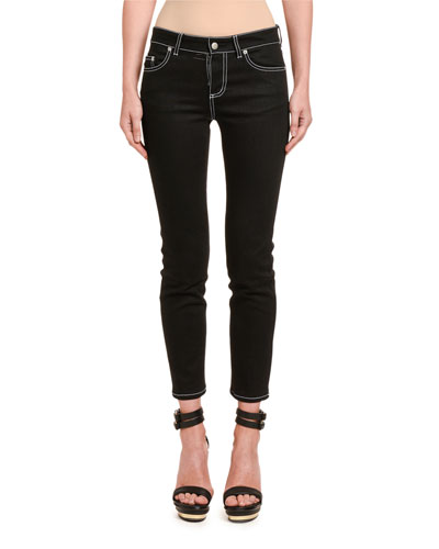 Contrast-Stitched Skinny Jeans