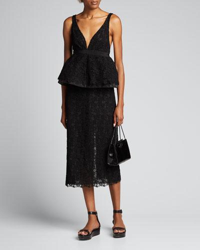 Lace High-Waist Midi Skirt