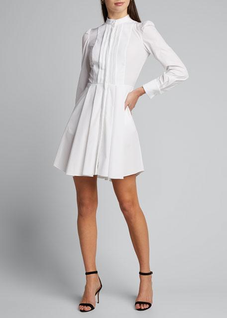 Pleated Poplin Shirtdress