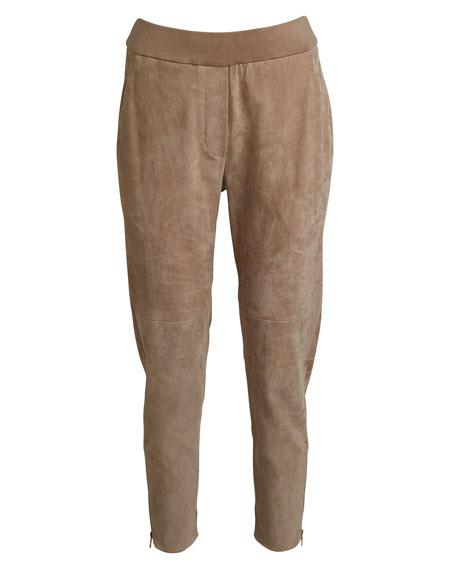 Stretch-Suede Jogger Pants w/ Zip Cuffs