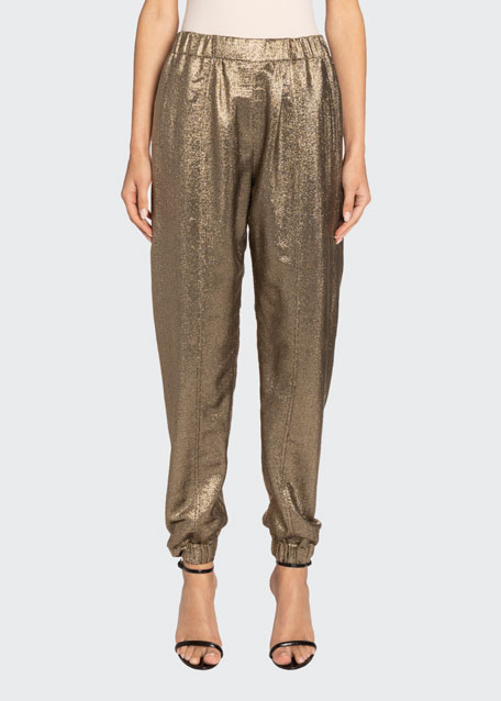 Gold Lame Jogger Pants by Saint Laurent