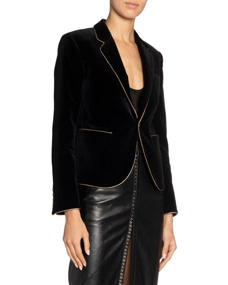 Golden Trim Velvet Fitted Blazer by Saint Laurent