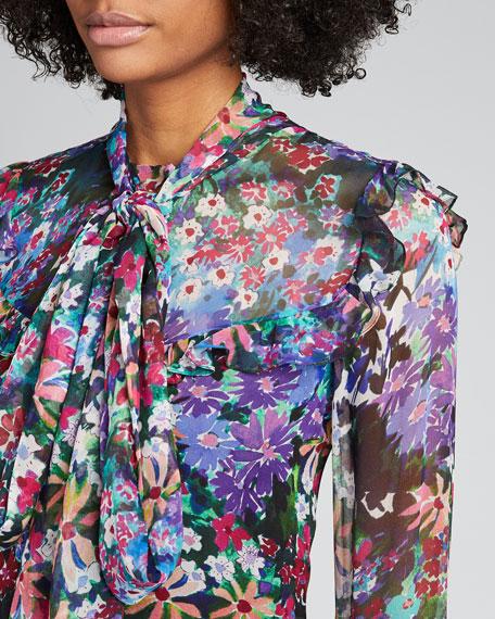 Floral-Print Silk Ruffle Tie-Neck Blouse