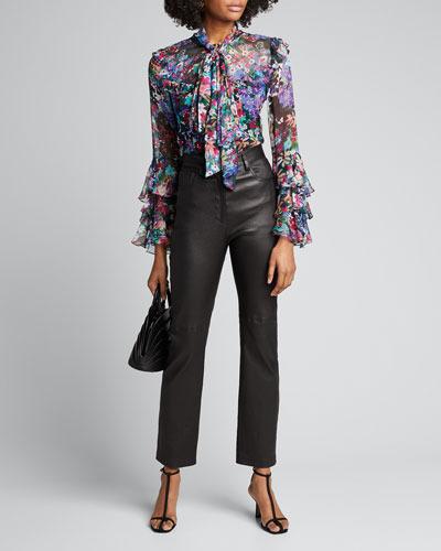 Floral-Print Silk Ruffle Tie-Neck Blouse