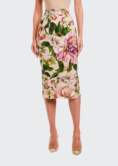 Floral-Print Charmeuse Pencil Skirt