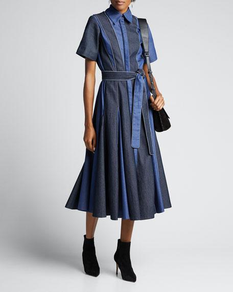 Denim Paneled Midi Godet Shirtdress