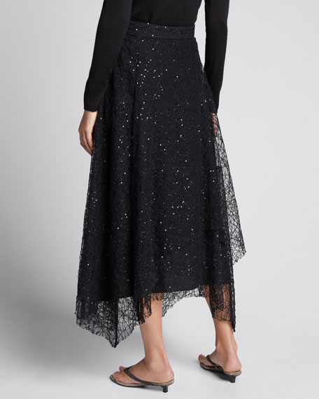 Sequined Tulle Asymmetric Skirt