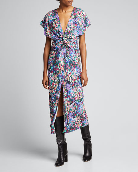 Floral-Print Deep-V Ruched Dress