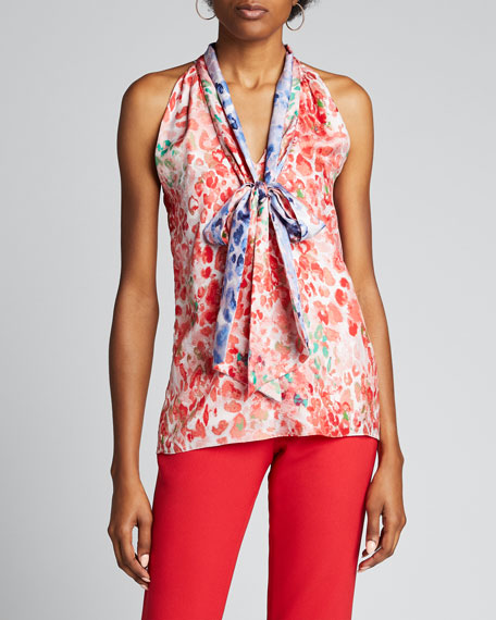 Sleeveless Tie-Neck Shirt
