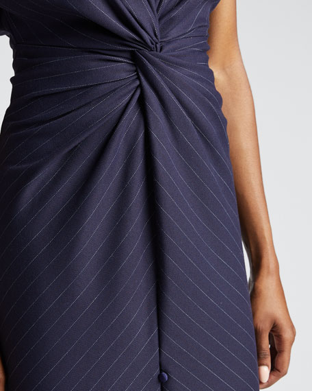Pinstriped V-Neck Cocktail Dress