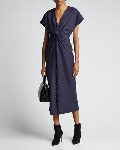 Pinstriped V-Neck Cocktail Dress