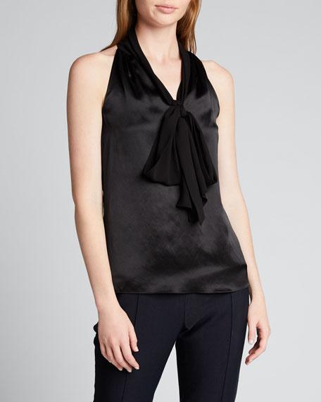 Satin Sleeveless Tie-Neck Shirt