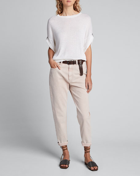 Linen-Silk Sequined Crewneck Sweater, White