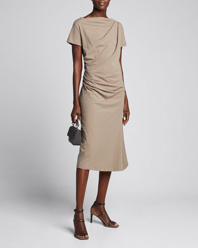 Short-Sleeve Jersey Couture Side Ruched Dress