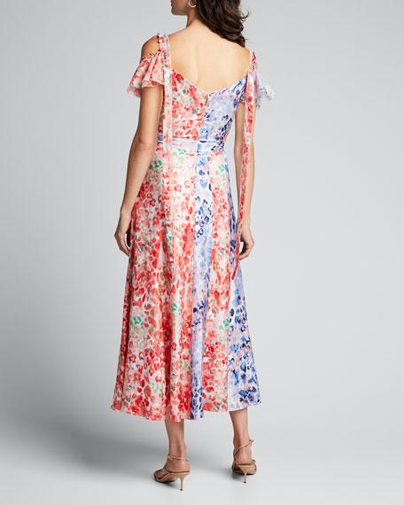 Floral Print Patchwork Panel Midi Dress