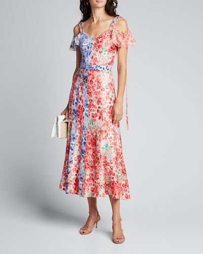 Floral Print Patchwork Panel Midi Dress