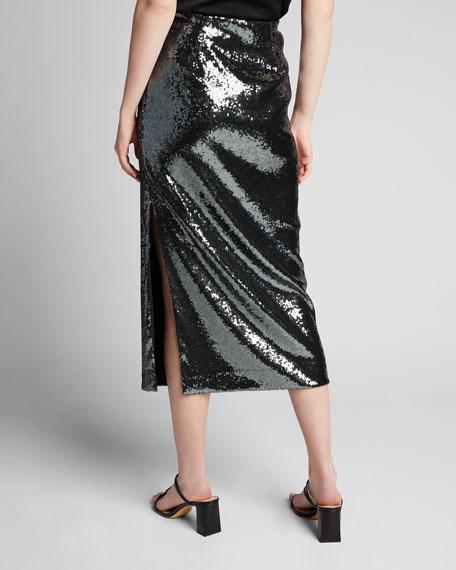 Sequined Pencil Midi Skirt