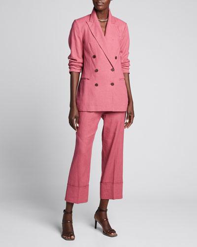 Cotton-Linen Twill Double Breasted Blazer
