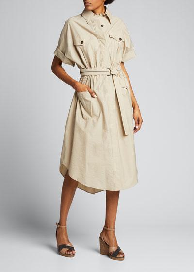 Techno Poplin Belted Dress