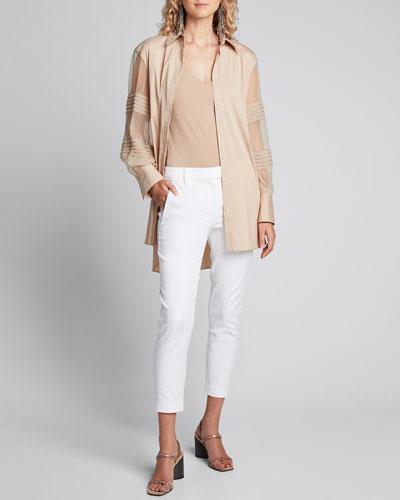 Monili-Beaded Organza Sleeve Poplin Shirt  Brown