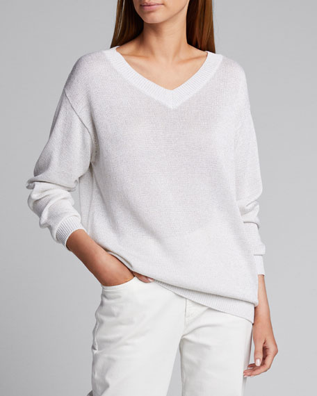 Metallic Cotton V-Neck Sweater