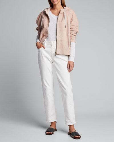 Metallic Cotton V-Neck Sweater