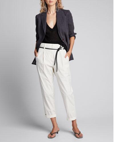 Linen-Silk Sequined Crewneck Sweater  Black