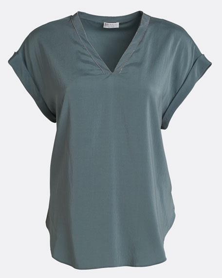 V-Neck Short-Sleeve Stretch Silk Top