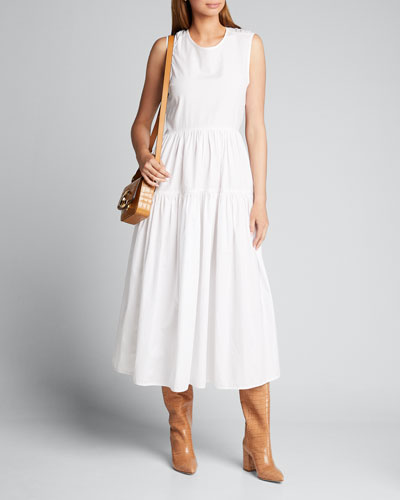 Cotton-Tiered Tie-Back A-Line Midi Dress