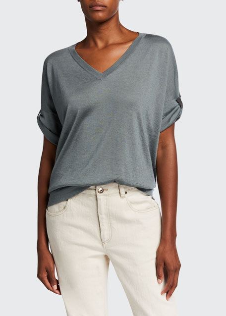 Image 1 of 1: V-Neck Rolled Cap-Sleeve Cashmere/Silk Sweater