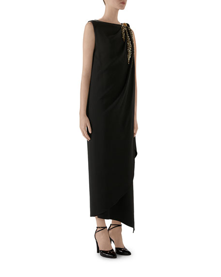 Crystal Embroidered One-Sleeve Jersey Dress