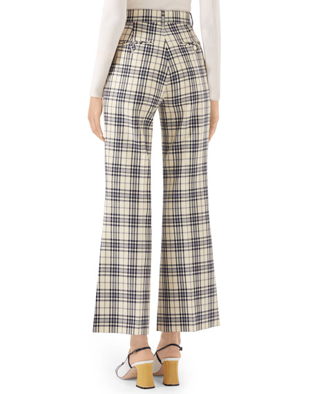 70s Madras-Checked Wool Fare Pants