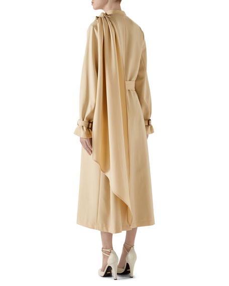 Wool Coat with Draped Scarf