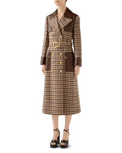 Belted Checked-Wool Trench Coat