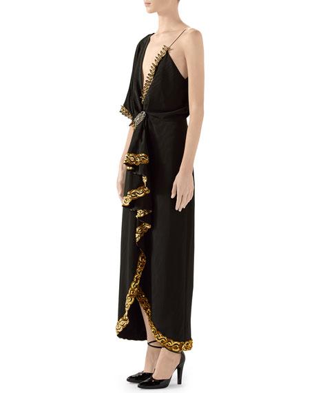 Naomi Embroidered Asymmetric Silk/Viscose Dress