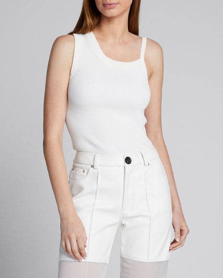 Knit Asymmetric-Neck Tank Top, White