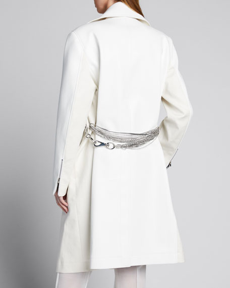 Chain-Belted Faux-Leather Coat