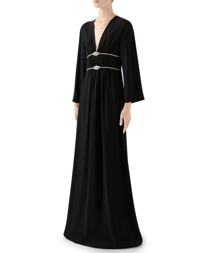 Long-Sleeve Jersey V-neck Gown With Crystal Embroidered Waist
