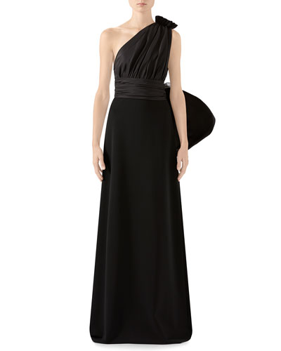 One-Sleeve Jersey Gown With Oversize Taffeta Shoulder Detail