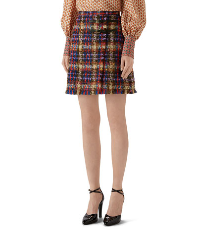 Bright Tweed Mini Skirt