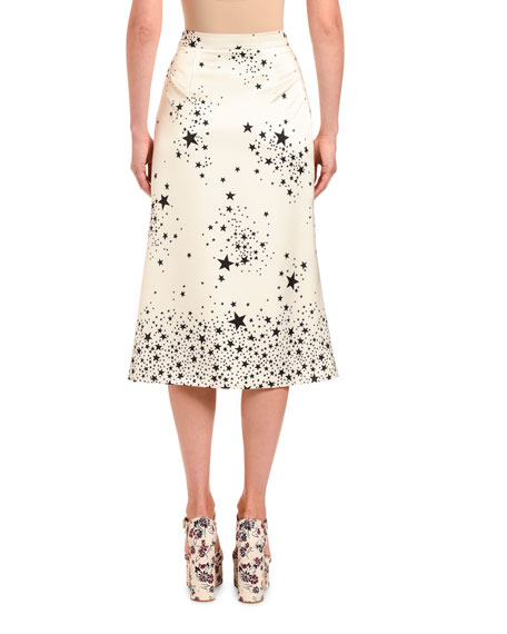 Star-Print Satin Flare Midi Skirt