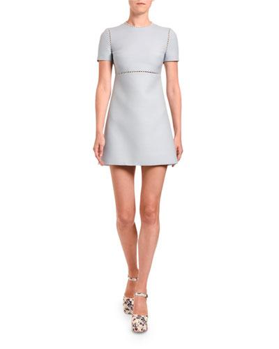 Jersey Pearl-Inset Mini Dress