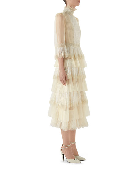 Long-Sleeve Tiered Tulle Dress