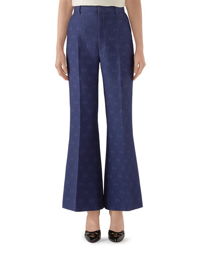 Wool-Silk Diagonal 70's Flare Pants