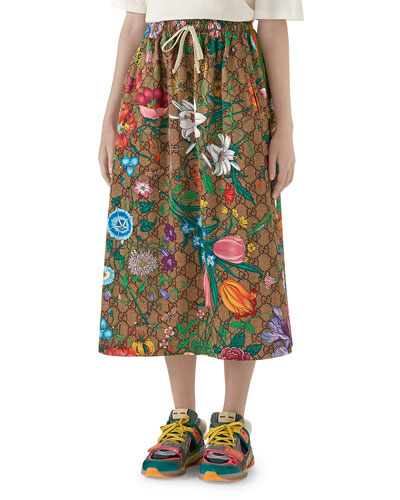 Drawstring Flora Jersey GG Midi Skirt